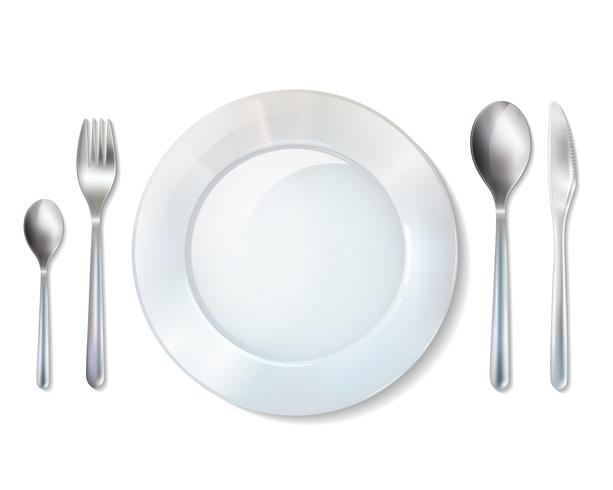 Plate And Cutlery Realistic Set Image.