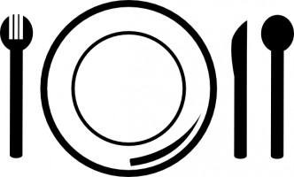 Plate and fork clipart.