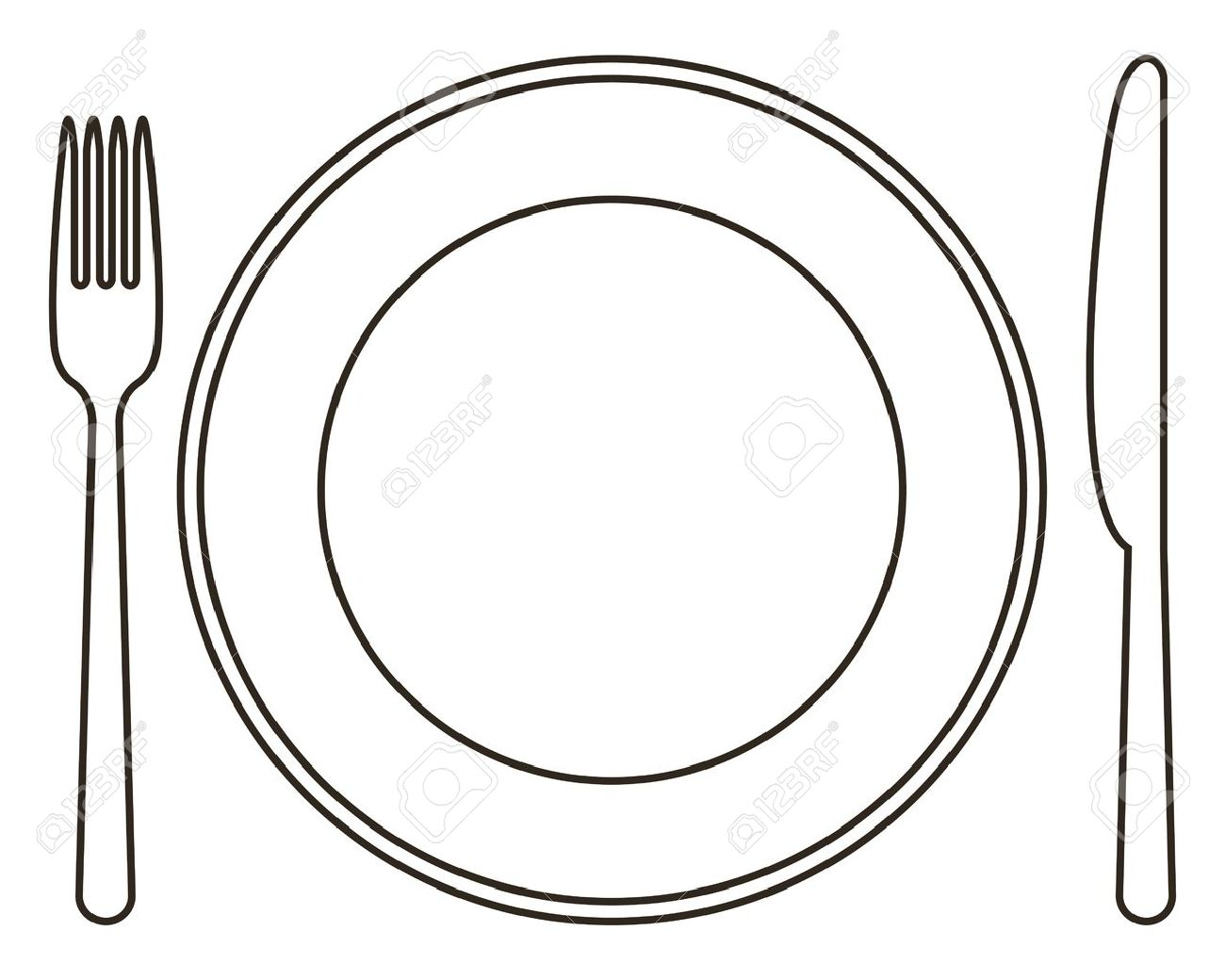 Fork And Knife Plate Clipart.