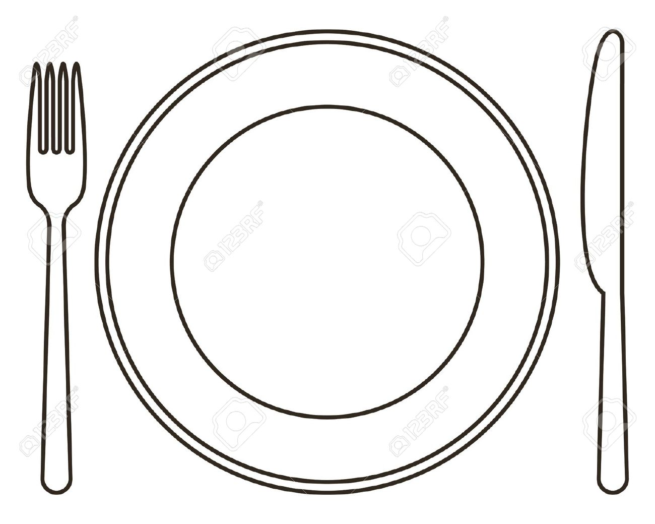 Plate and utensils clipart » Clipart Station.