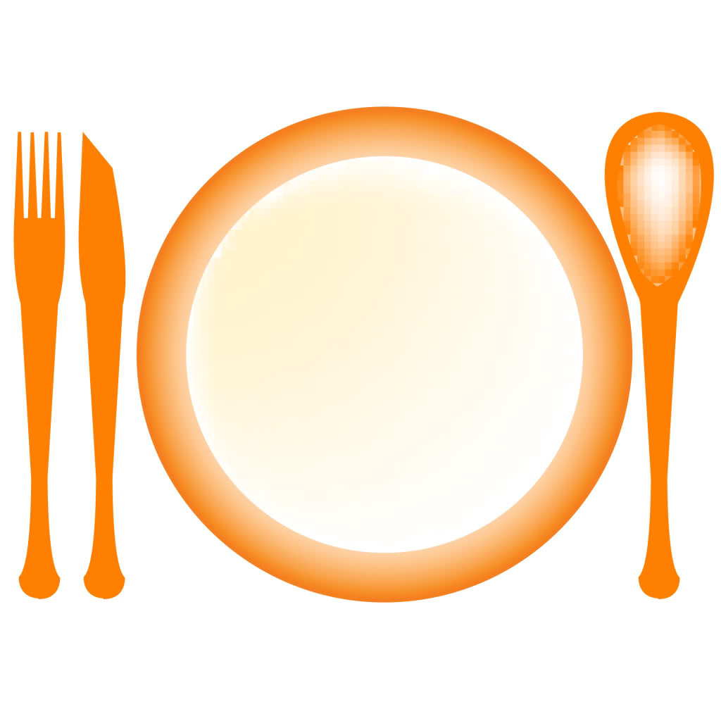 Free Clipart Dinner Plate and Utensils.