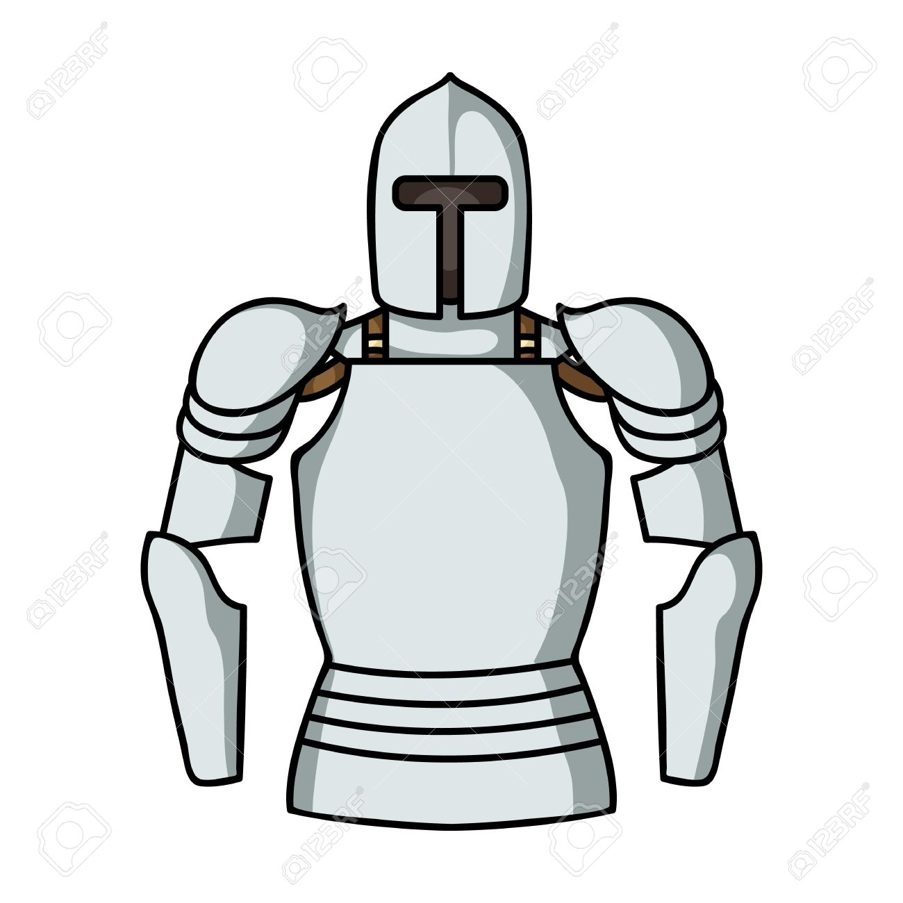 Plate Armor Icon In Cartoon Style Isolated On White Background.
