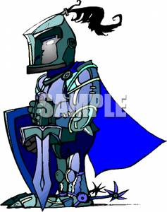Cartoon Knight In Plate Armor.