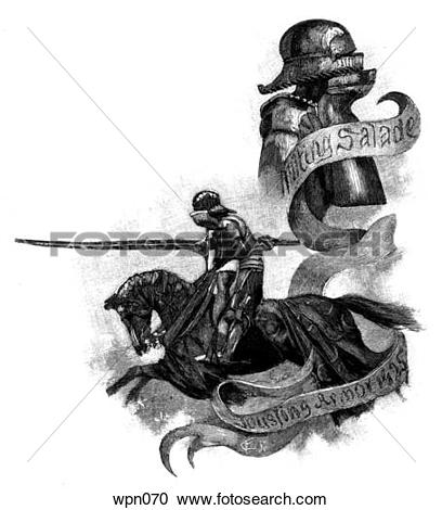Stock Illustrations of Jousting Knight and Bust of Knight in Plate.