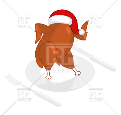 Christmas turkey in santa cap on plate Vector Image #141005.