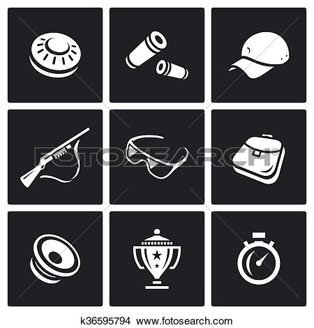 Clipart of Vector Set of Clay Shooting Icons. Plate, Bullet, Cap.
