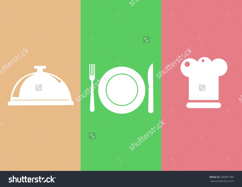 Elegant Restaurant Symbols Cook Cap Knife Stock Vector 290981780.