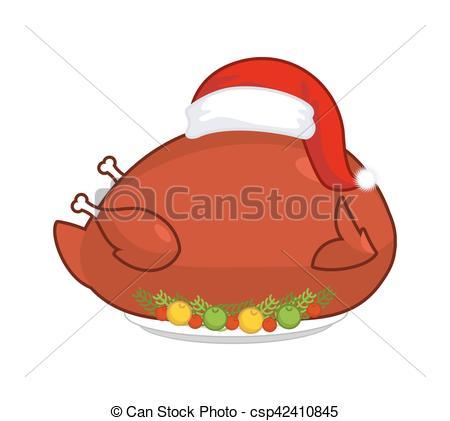 EPS Vector of Big Roast turkey in Santa Claus cap. Christmas fowl.