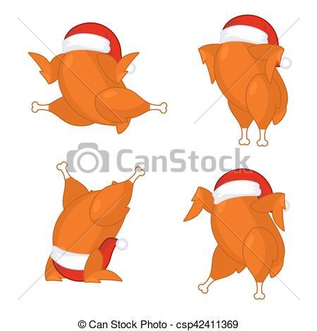 Clip Art Vector of Christmas turkey in Santa cap. Roast fowl on.