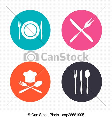 Vector Clipart of Plate dish with forks and knifes icon. Chief hat.