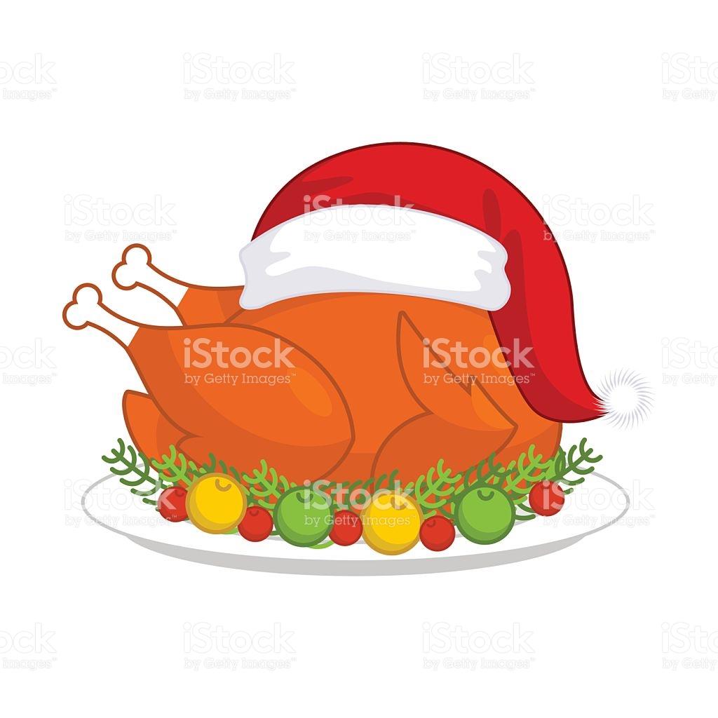 Christmas Turkey In Santa Claus Cap Roast Fowl Plate stock vector.