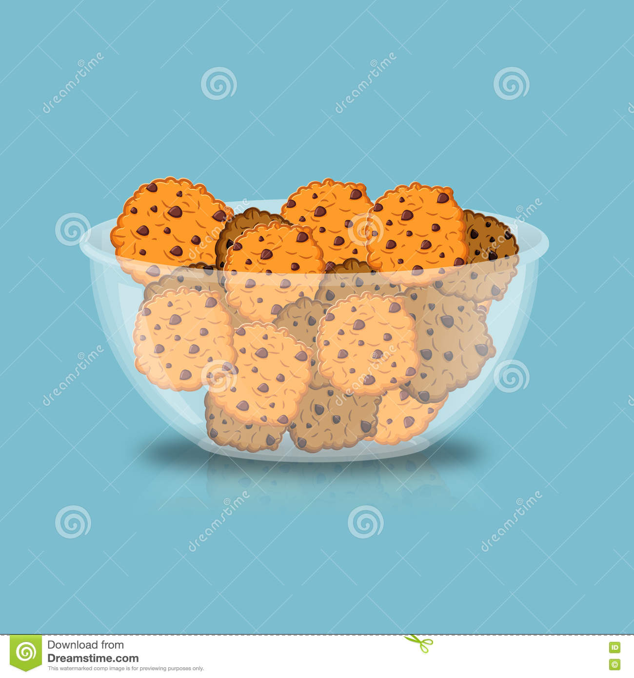 Cookies In Bowl. Biscuit In Deep Transparent Plate. Oatmeal Cook.