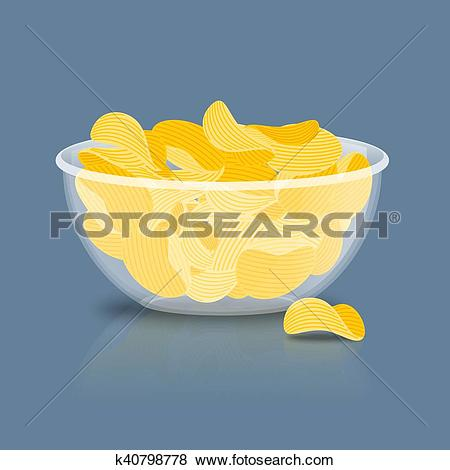 Clip Art of Potato Chips in bowl. Fried potatoes in deep.