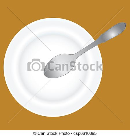 Clipart Vector of Deep dish and spoon.