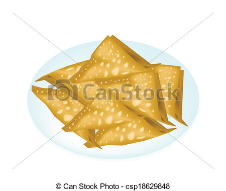 EPS Vector of Deep Fried Wonton in A White Plate.