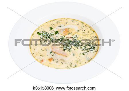 Stock Images of Finnish fish soup in deep plate. k35153006.