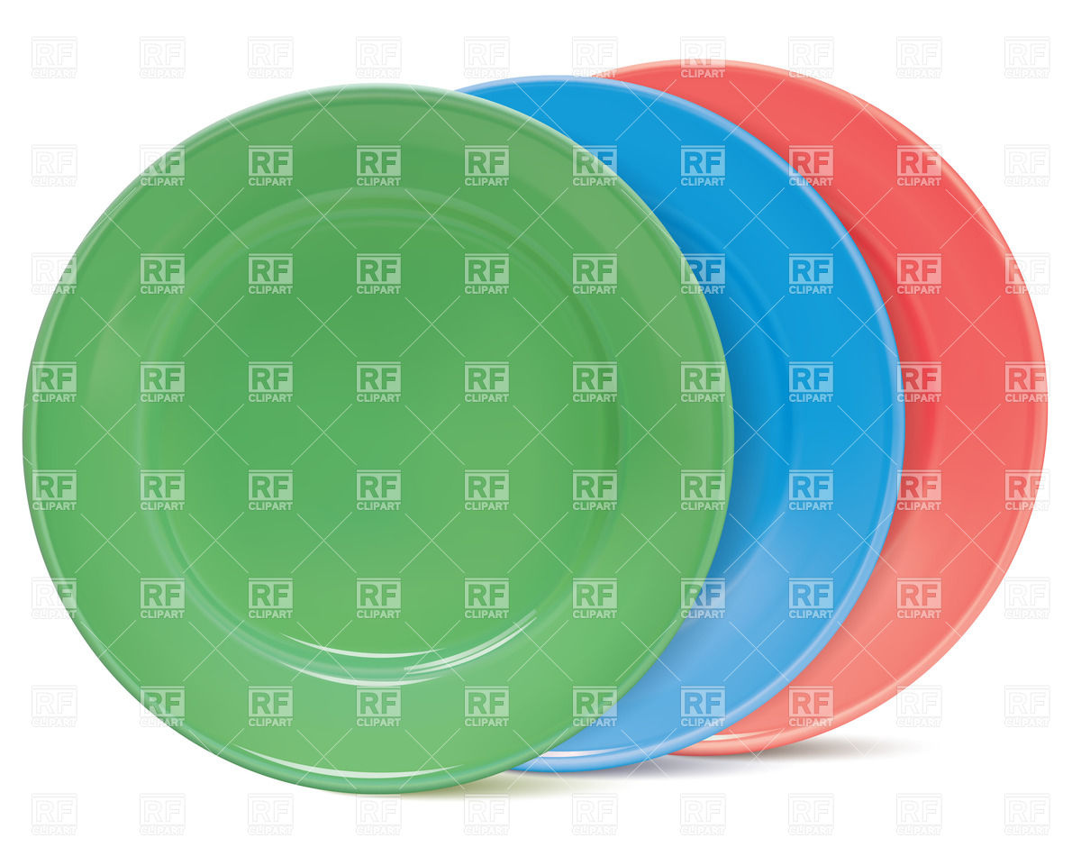 Row of colourful plates Vector Image #31999.