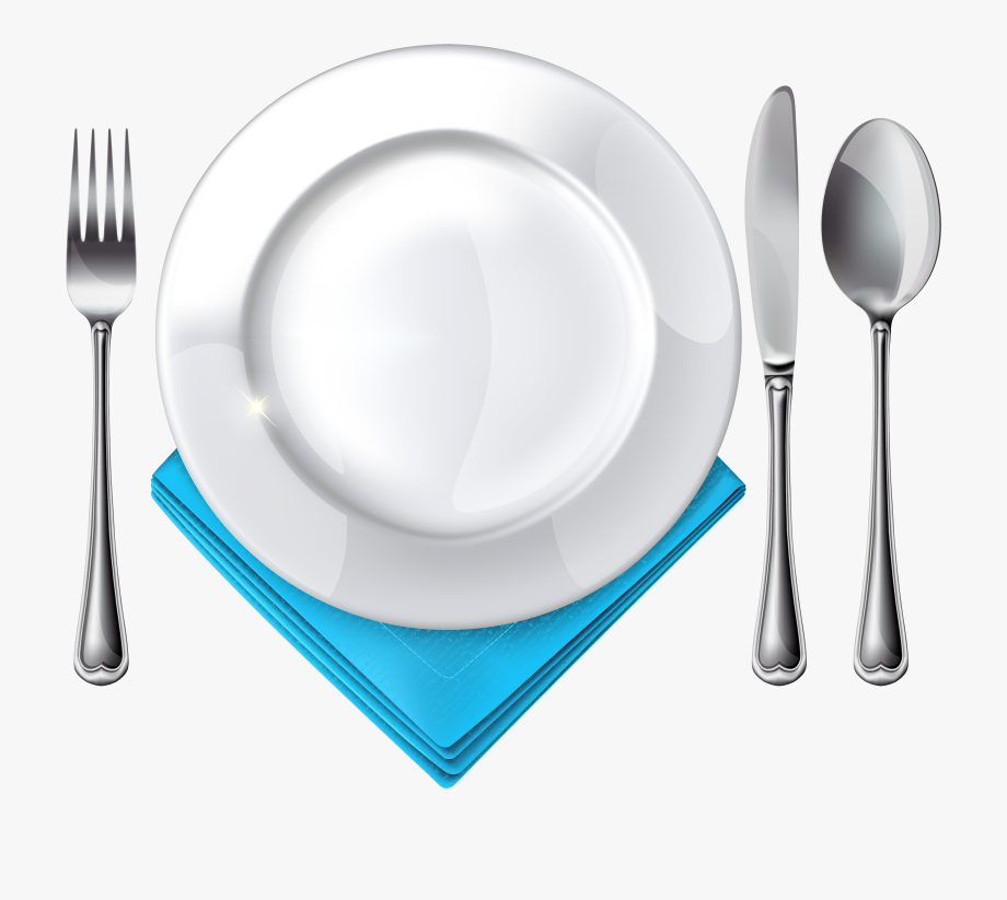 Plate Spoon Knife Fork And Blue Napkin Png Clipart.
