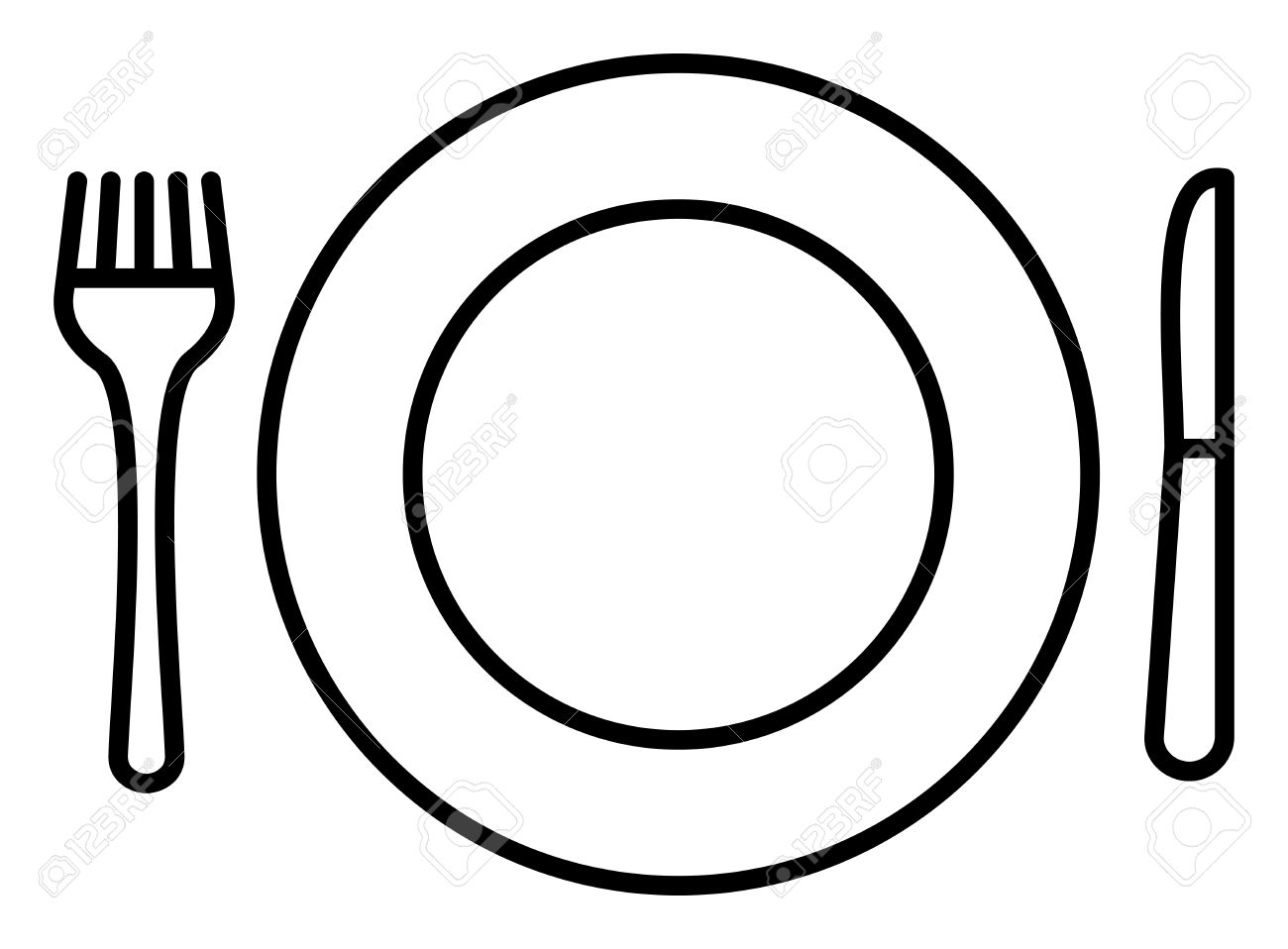 Plate, Knife and Fork Icon » Clipart Station.
