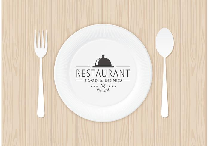 Restaurant Logo On Paper Plate Vector.