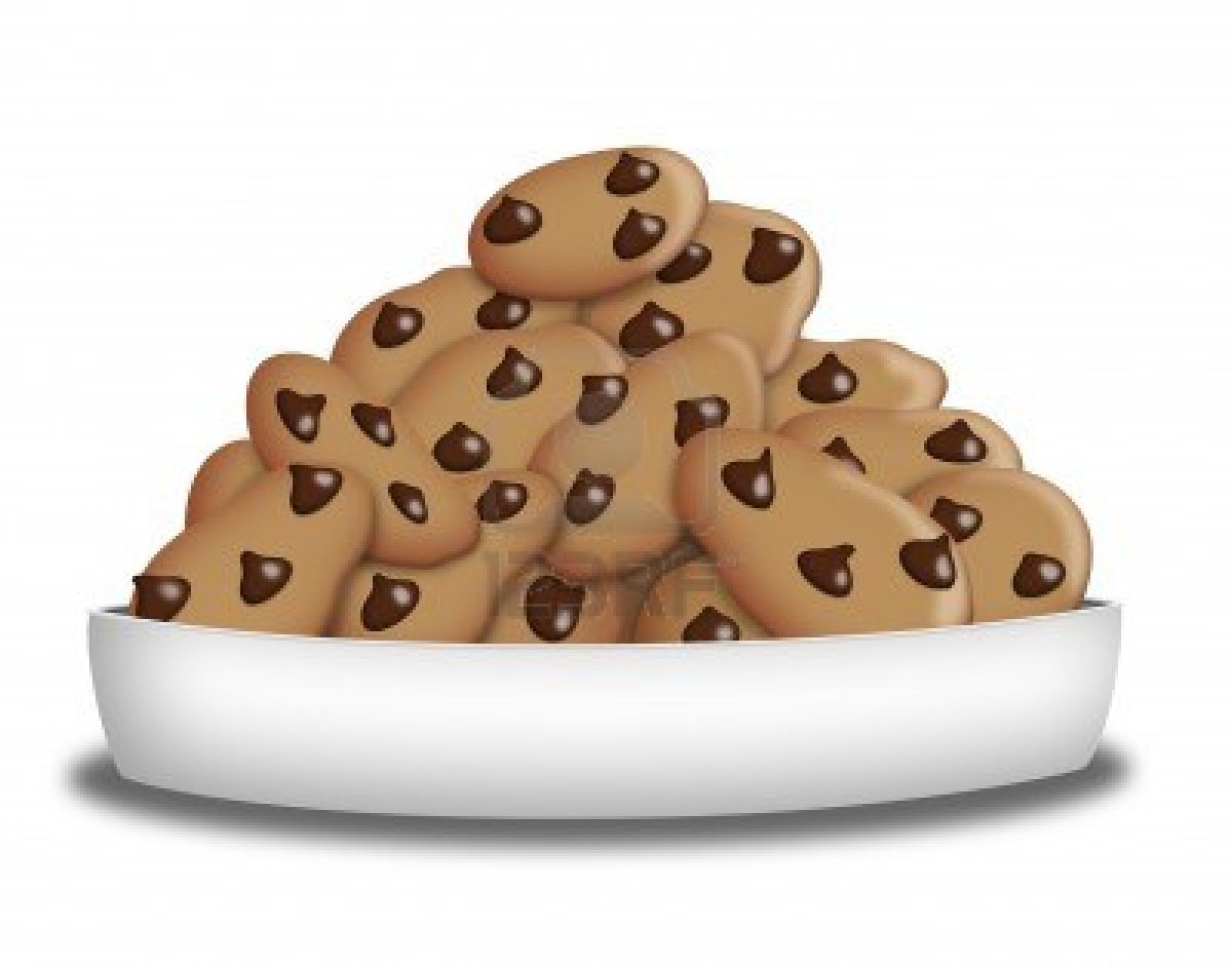 Plate Of Chocolate Chip Cookies Clipart.