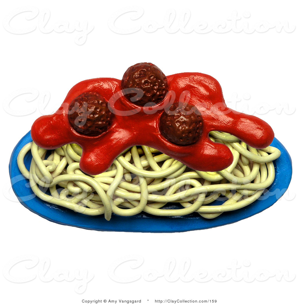 Clay Illustration of a Plate of Spaghetti and Meatballs by.
