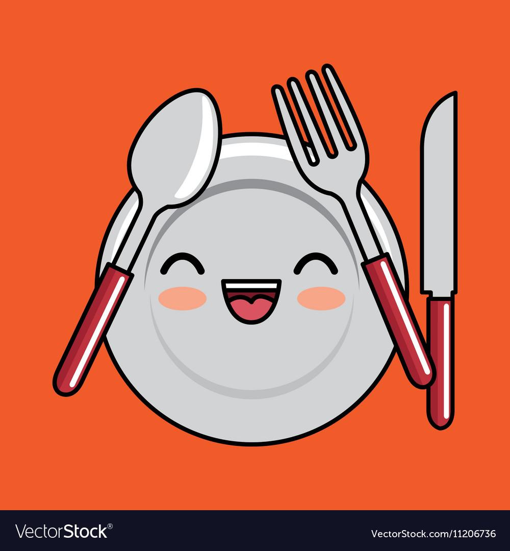 Kawaii plate fork spoon knife icon design.