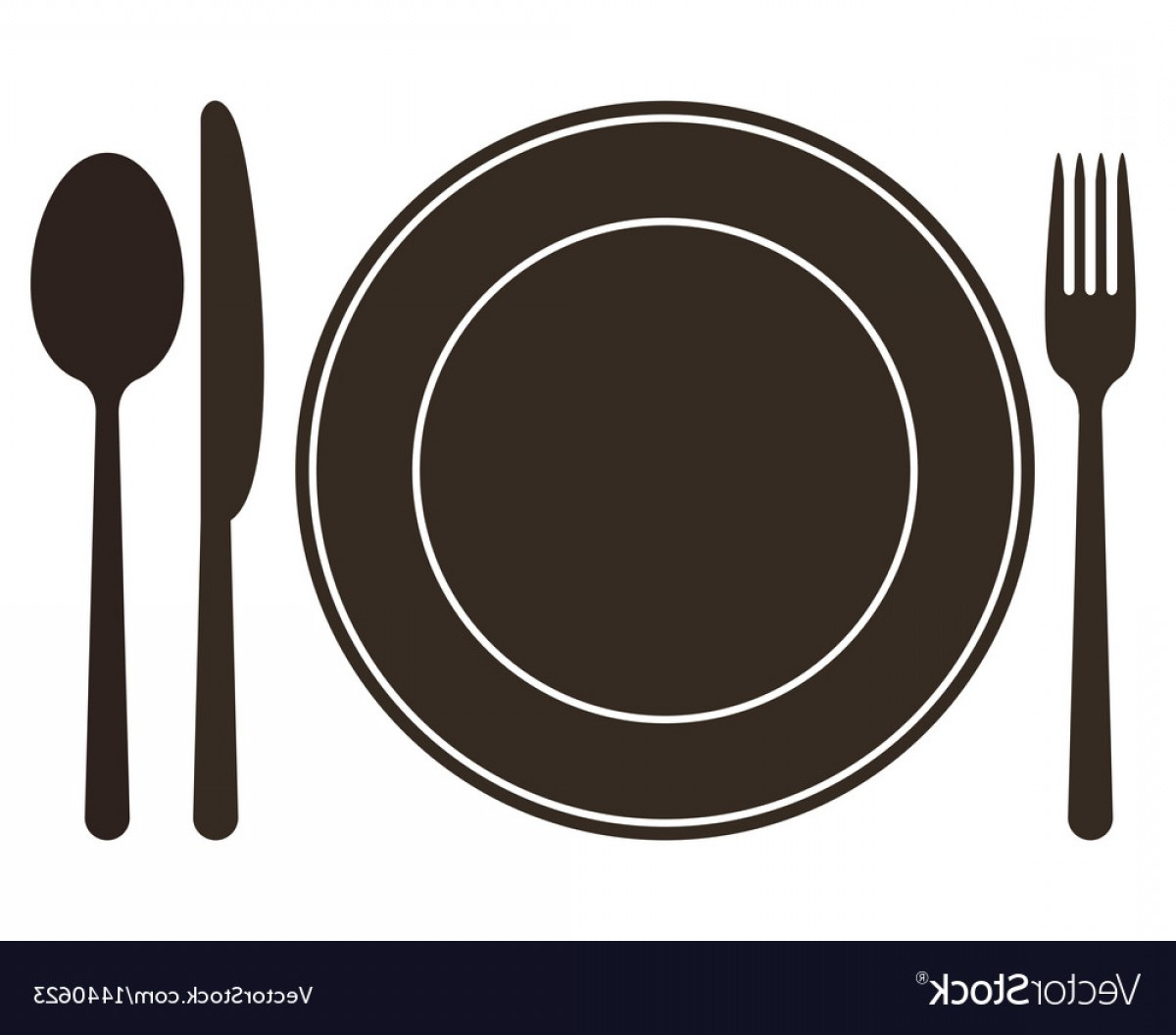 Plate Knife Spoon And Fork Vector.