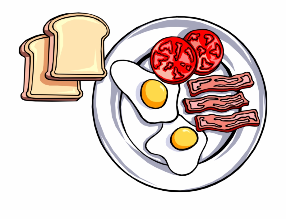Vector Illustration Of Hearty Breakfast Of Toast, Fried.