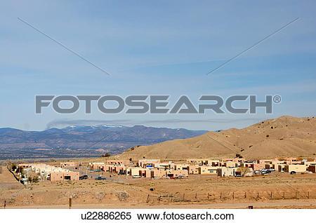 Stock Image of pueblo santo domingo annex houses buildings new.
