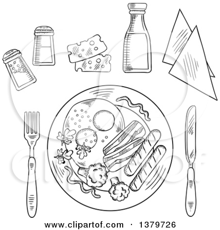 Clipart of a Black and White Sketched Plated Meal and Condiments.