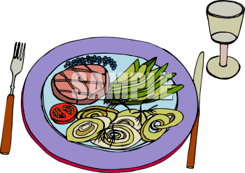 Clipart Illustration of a Plate of Food: Veges and Meat.