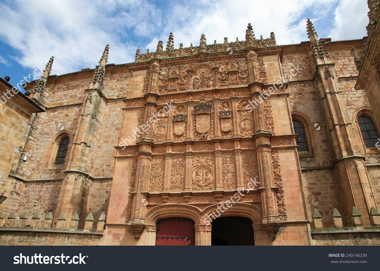 Plateresque Facade University Building Salamanca Castile Stock.