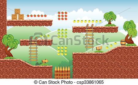 Clip Art Vector of platform game tileset 16.