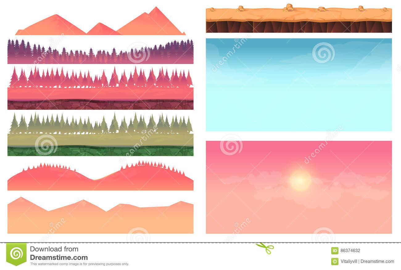 Cartoon Nature Landscape Elements Set, Platform, Trees, Sky, Hills.