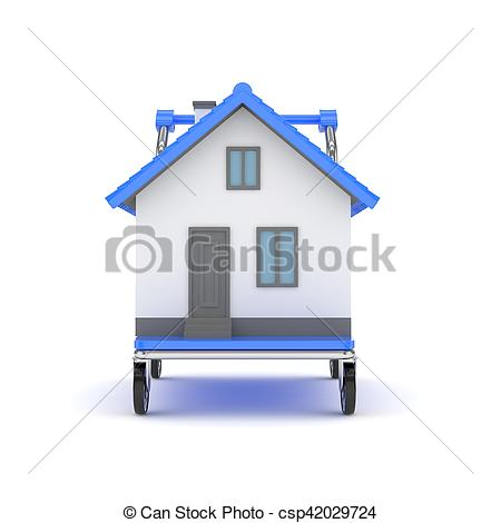 Clip Art of House on wheeled platform. 3D rendering..