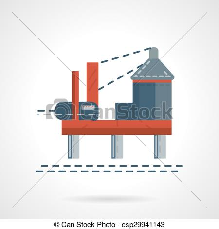 EPS Vector of Flat color sea oil platform vector icon.