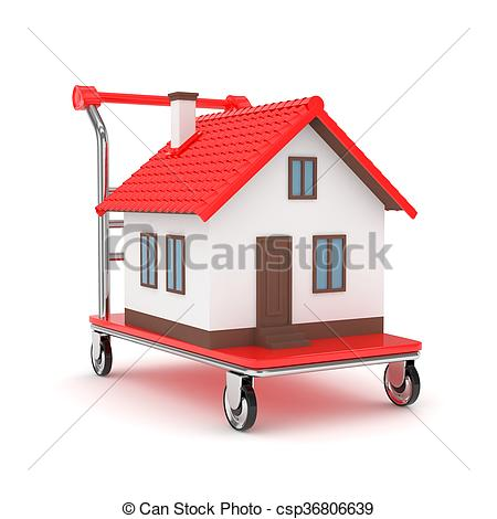 Drawings of House on wheeled platform. 3D rendering..