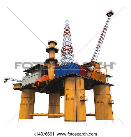Clipart of Drilling Offshore Platform Oil Rig k14876661.
