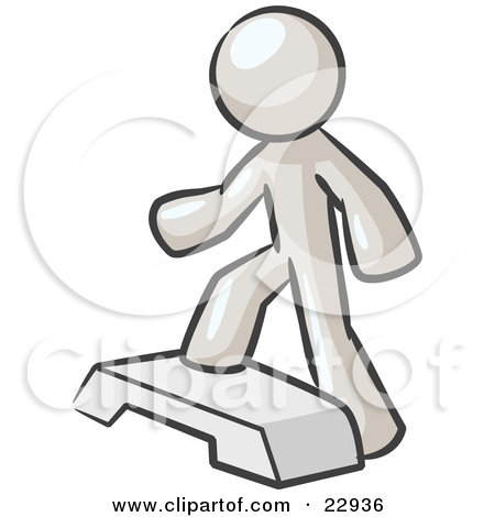 Clipart Illustration of a White Man Doing Step Ups On An Aerobics.