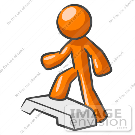 Clip Art Graphic of an Orange Guy Character Stepping Up Onto A.