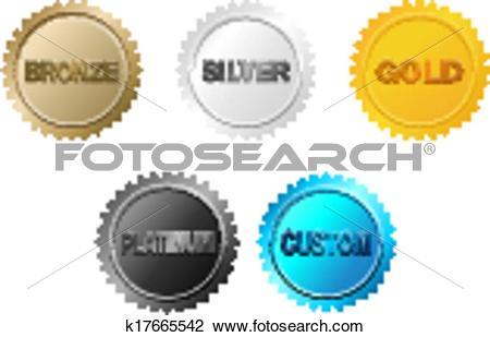 Clipart of bronze, silver, gold,platinum badge k17665542.