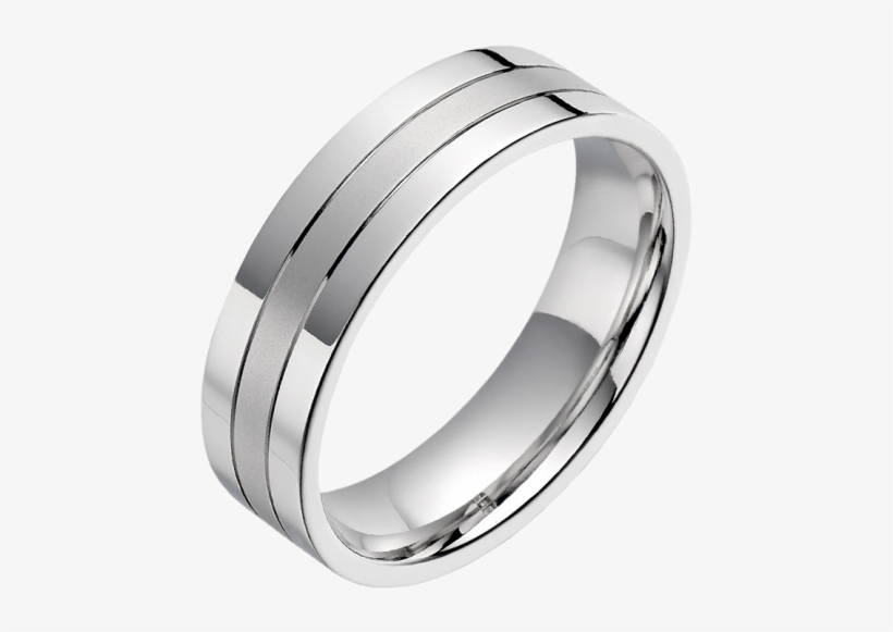 A Classic Mixed Finish Mens Ring In Platinum.