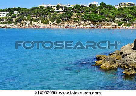 Stock Photography of Platja Llarga beach, in Salou, Spain.