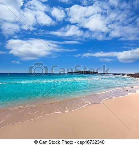 Stock Photo of Menorca Platja de Binigaus beach Mediterranean.