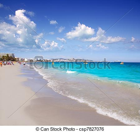 Stock Image of Ibiza Platja En bossa beach with palm trees.