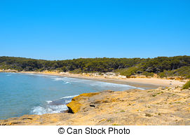 Stock Image of View of Platja Llarga beach in Salou Spain.