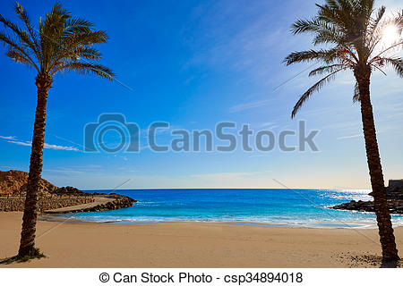 Stock Photography of Cullera Platja del Far beach Playa del Faro.