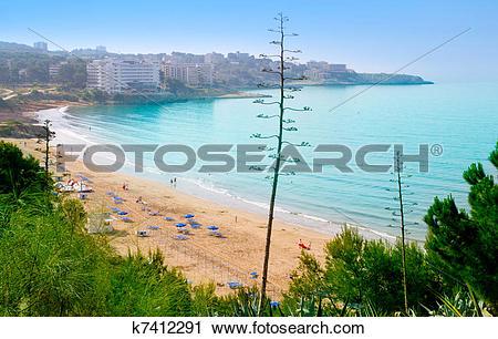 Stock Photography of long beach Platja larga in Salou Tarragona.