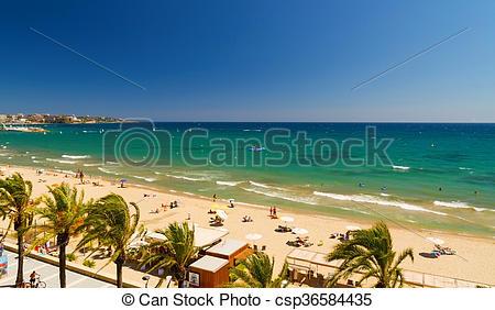 Stock Photos of View of Platja Llarga beach in Salou Spain.